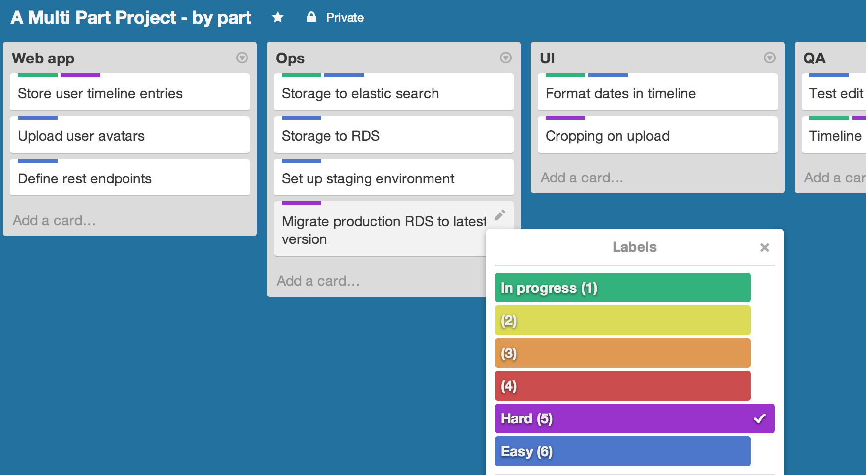 A multi-column kanban board with colors